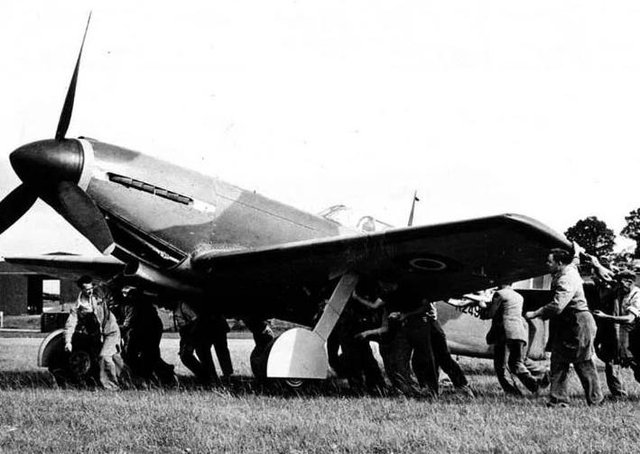 The Martin-Baker MB3 experimental fighter about to take off at RAF Wing PHOTO: Martin-Baker Aircraft Ltd
