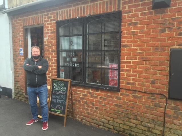 Gary outside his record shop.