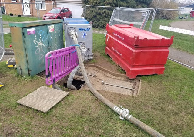 Waste water being extracted from the pumping station in Mardle Road
