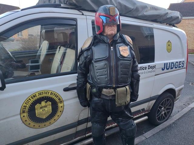 Steve dressed as Judge Dredd to raise money for Comic Relief