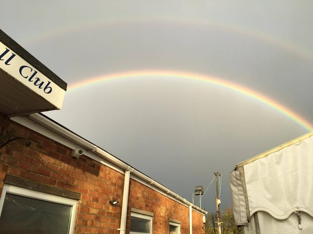A rainbow at the Leighton Buzzard vaccination centre offering a symbol of hope that we are winning the fight against Covid-19      Photo: LBPCN