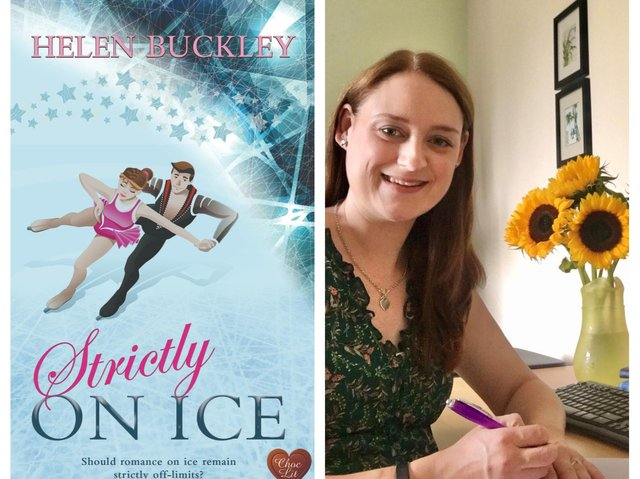 Strictly on Ice and Helen (right) signing her Choc Lit contract.