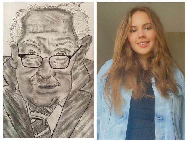 Chelsea (right) and her drawing of Captain Sir Tom Moore. 'I kept seeing people draw him and obviously he's been quite an inspiration to everyone.'