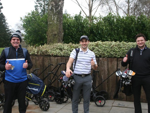 Jack Jones, Mark Sandham and Alex Sandham were the first to tee-off at 7am today at Leighton Buzzard Golf Club.