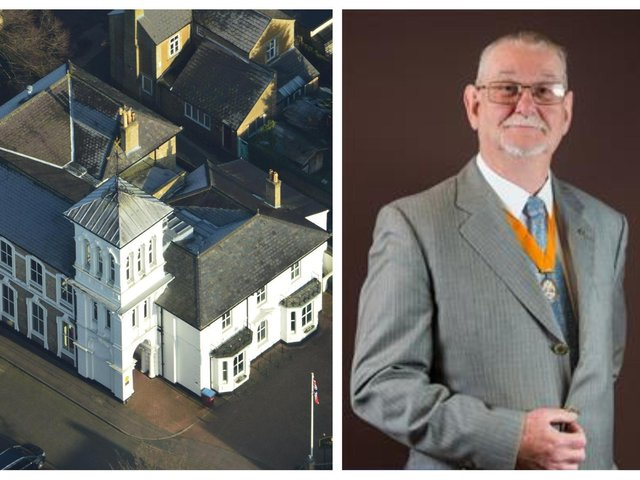 Cllr Mark Freeman and the town council's White House premises