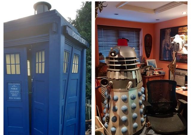 The battered TARDIS and Mark's Dalek.