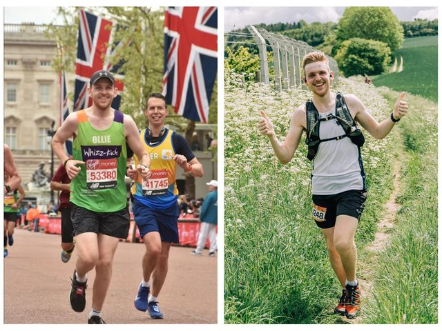 Ollie (left) at the London Marathon, and enjoying the countryside.