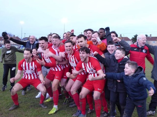 Memories of Leighton Town celebrating after their FA Vase win at Bradford Town in February last year