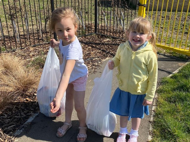 Ava and Annabel took it upon themselves to tidy the play park.