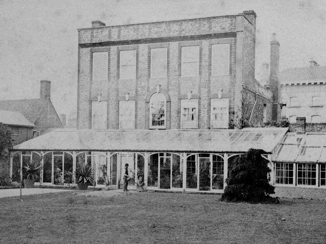 Leighton House taken from the rear in about 1890. You can see the front of the NatWest bank on the other side of the High Street. Leighton House was adapted by Baron Ferdinand de Rothschild and he lived there while he built Waddesdon Manor. He entertained The Prince of Wales (later Edward VII)who stayed there along with the Empress of Austria and they all went hunting together.
