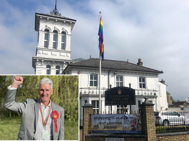 Flying the rainbow flag outside Leighton Linslade Town Council offices; (inset) Cllr Pat Carberry