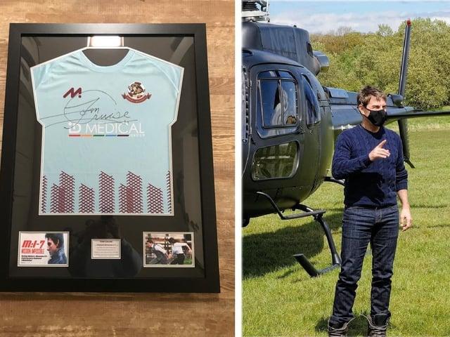 Tom Cruise signed three Woburn & Wavendon FC shirts.