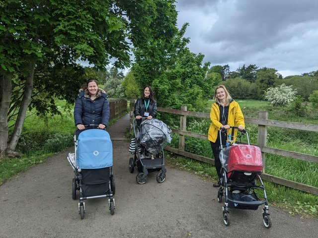 NCT Leighton Buzzard's Walk and Talk support group. L-R: Lucie Davies, Natalie Kain (NCT volunteer) and Ewa Przybylska.