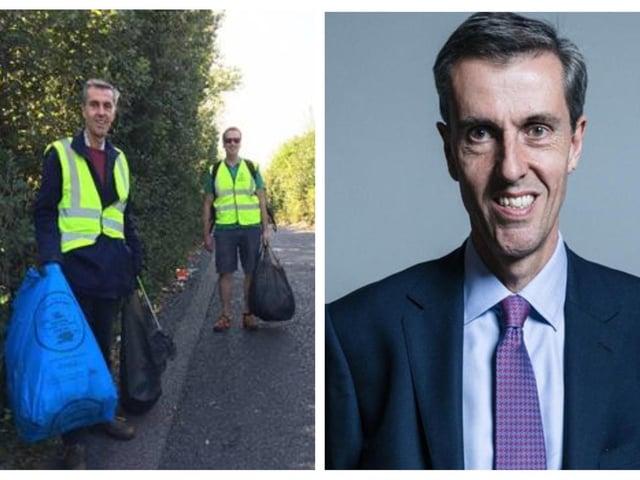 Andrew Selous MP; (left) litter picking.