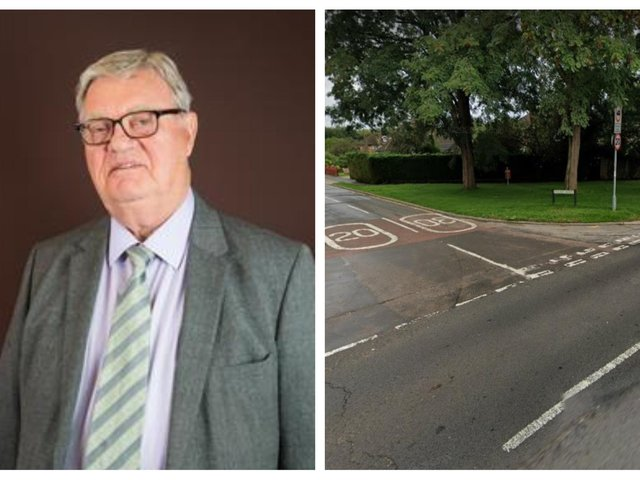 Cllr Owen, photo: Leighton-Linslade Town Council. Right: The junction of Stoke Road and Golden Riddy. Photo: Google Maps.