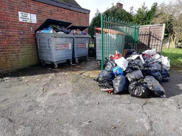 The three bins and excess waste, Photo: Ollie Keen.