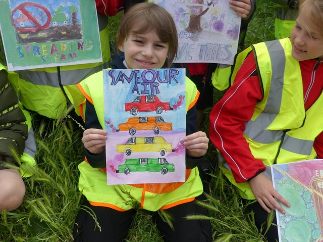 Linslade School pupils and their posters