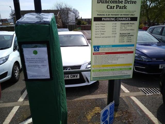 Free parking at Duncombe Drive car park