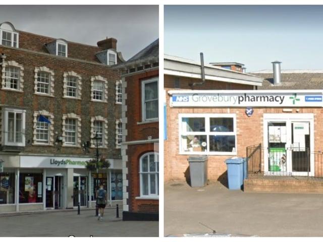 Lloyds Pharmacy and Grovebury Pharmacy (Jardines Pharmacy). Photos: Google.
