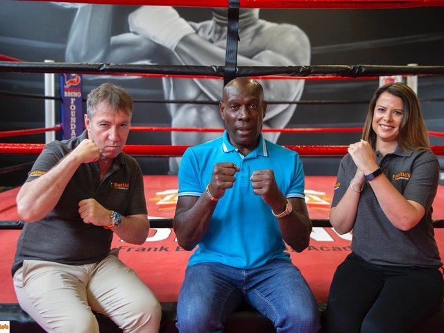 Buttle's Managing Director Ian Church, Frank Bruno, and Buttle's Commercial Manager Hannah Brunton. CREDIT: Kirsty Edmonds