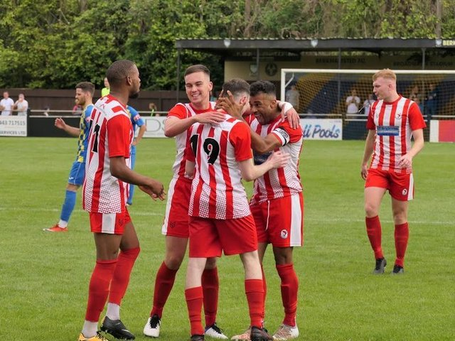 Goal celebrations from Leighton Town's pre-season friendly with Berkhamsted  (Pictures by Andrew Parker)